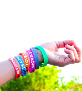 6-Piece Multicolor Inspirational Silicone Wristbands by Solza - Solza