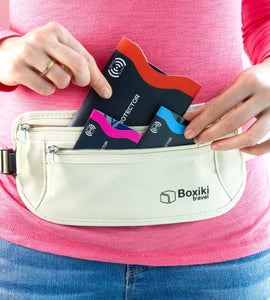 15 Credit Card Sleeves + 5 Passport Sleeves (Navy Blue & White) by Boxiki Travel - Boxiki Travel