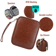 Load image into Gallery viewer, Travel Passport Wallet (Brown) - Boxiki Travel