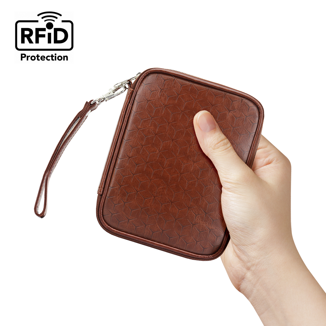 Travel Passport Wallet (Brown) - Boxiki Travel