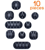 10-Piece Set Stick-On Cable Clip Organizers (Black) by Smart Storage - Smart Storage