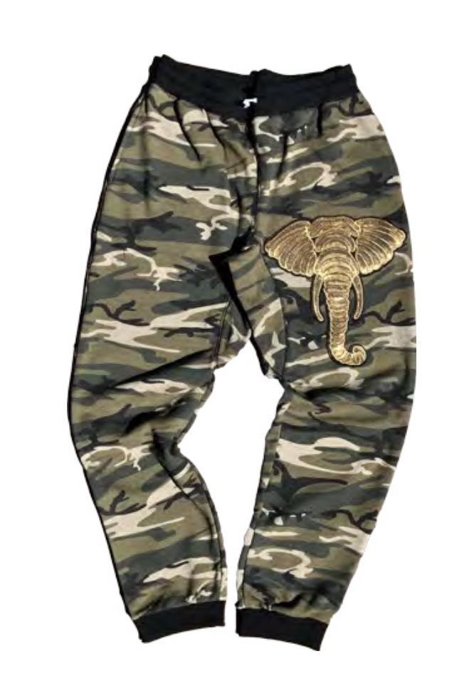 Sequin Elephant on Camo Joggers