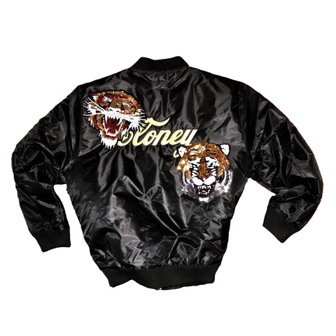 Black Cloney Bomber w/ Sequin Tigers