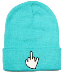 Middle Finger Beanie in Teal
