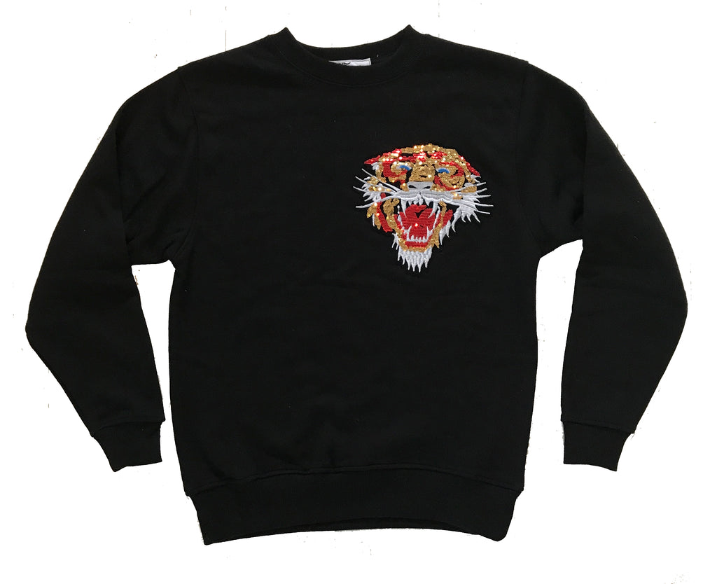 Sequin Tiger Crew in Black