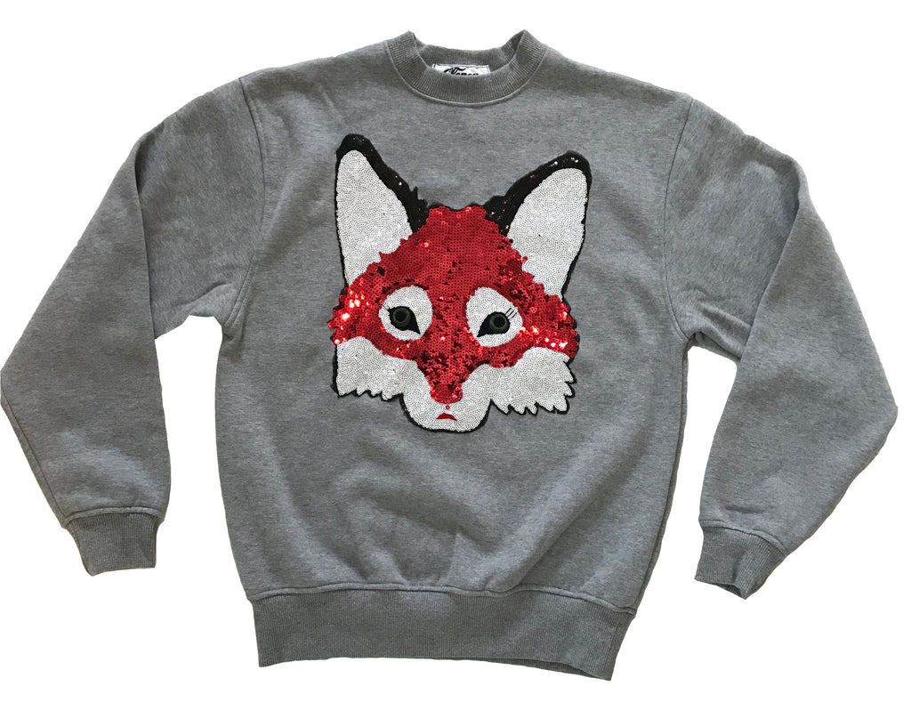 Sequin Fox on Gray Crewneck