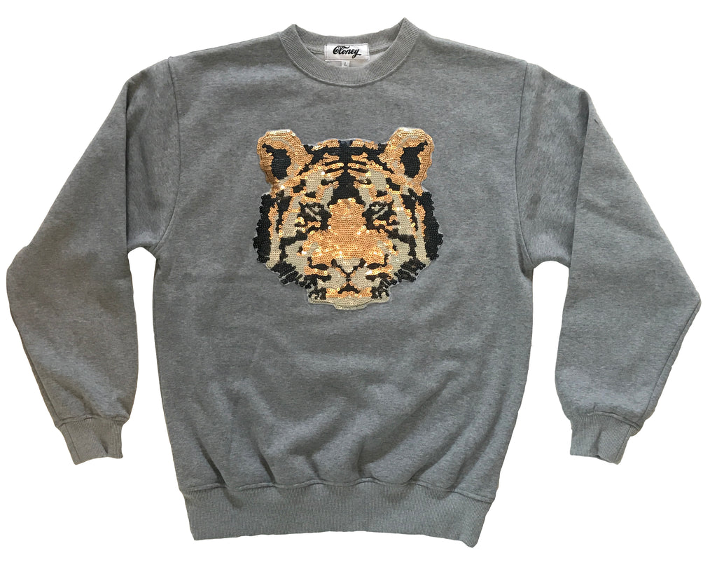 Sequin Tiger on Gray Crewneck