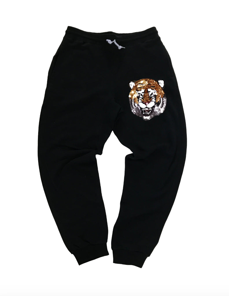Sequin Tiger on Black Joggers