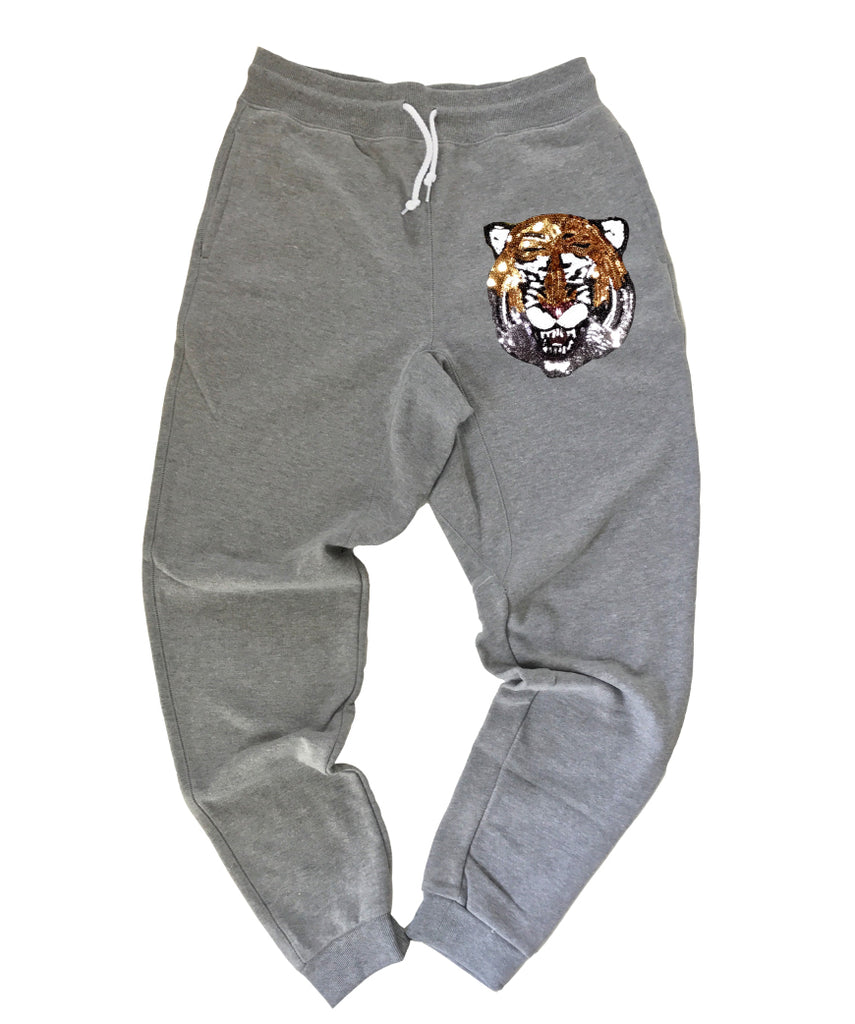 Sequin Tiger on Gray Joggers