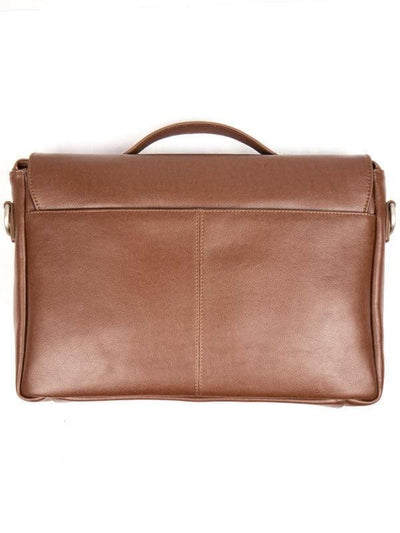 Chestnut Faux Leather Messenger Bag - Will's Vegan Shoes & Accessories Co. | Ecoture