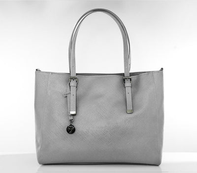 Grey Faux Leather Kangaroo Saffiano Tote - GUNAS NEW YORK | Ecoture