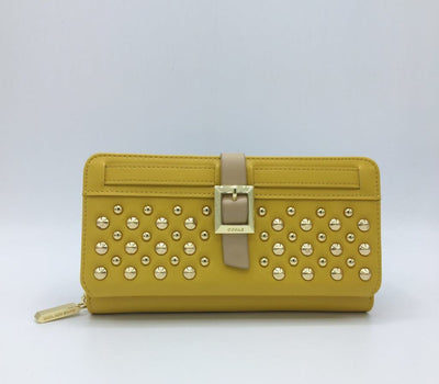 Yellow Faux Leather Twiggy Wallet - GUNAS NEW YORK | Ecoture