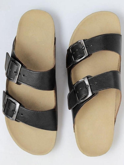 Black Faux Leather Men's Footbed Sandal - Will's Vegan Shoes & Accessories Co. | Ecoture