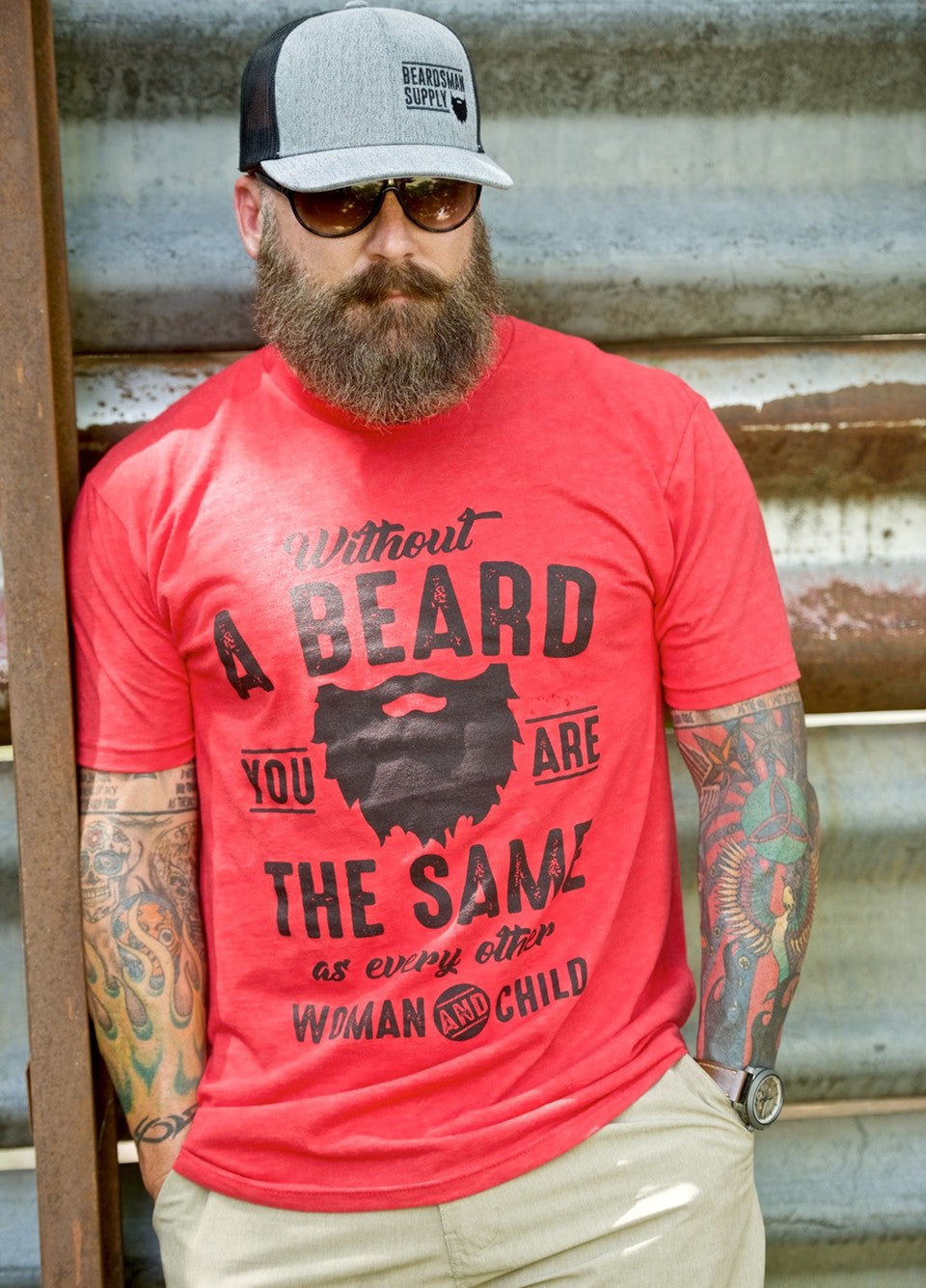 Without a Beard T-Shirt - Beardsman Supply, LLC