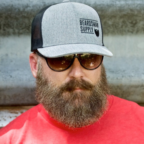 Grey Curved Bill Logo Hat - Beardsman Supply, LLC
