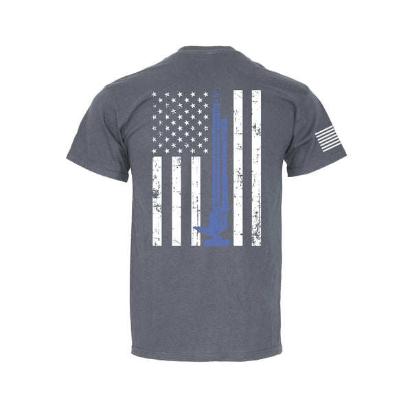 Blue Line Flag - Retro Pocket T-Shirt
