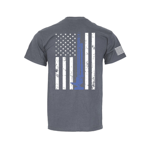 Flag Blue Line Flag - Retro Pocket