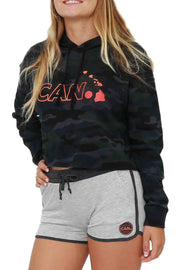 Camo Crop Hoodie Hawaii Islands