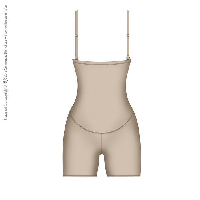 Diane & Geordi 002389 Extra Firm Control Strapless Open Bust Bodysuit / Latex - Pal Negocio