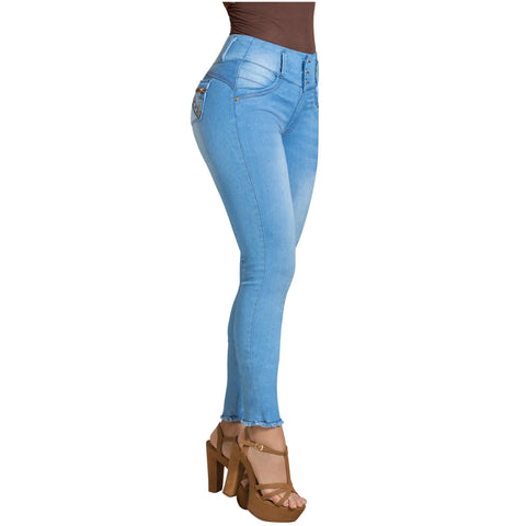 DRAXY 1317 Colombian Skinny Wide Waistband Denim Butt lifter Jeans - Pal Negocio