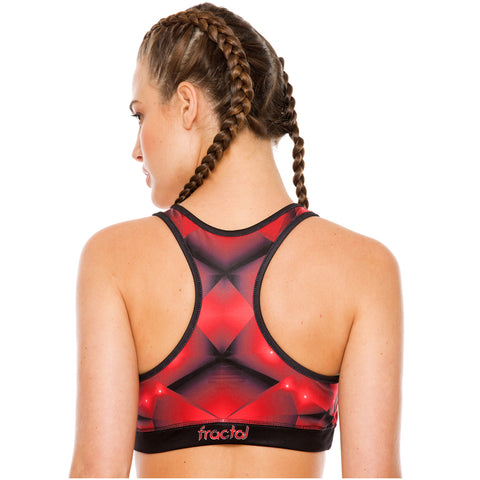 Flexmee 902816 Red Fractals Racerback Gym Sports Bras for Women | Polyamide - Pal Negocio