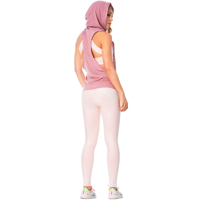 FLEXMEE 930023 Women's Pink Sleeveless Hooded Tank Top | Light Microfiber
