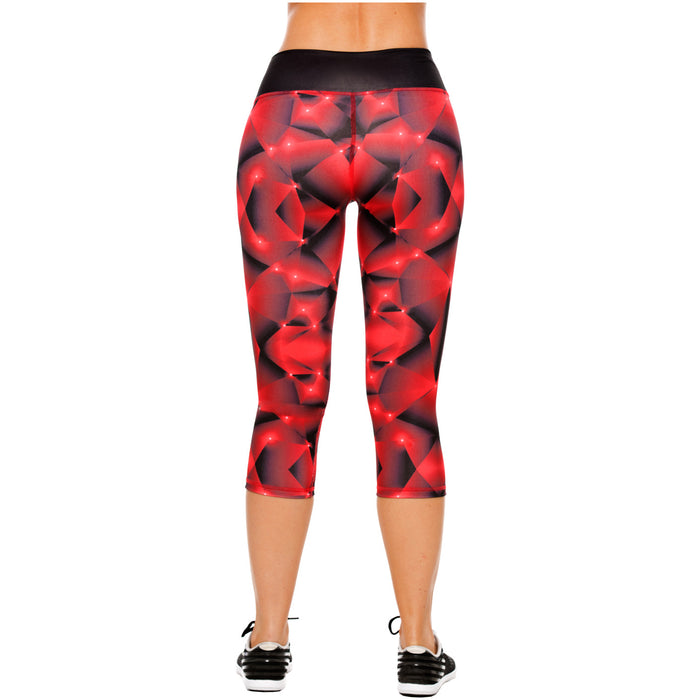 Flexmee 944212 Red Fractals Mid Rise Capri Leggings for Women | Polyamide - Pal Negocio