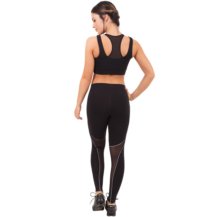 FLEXMEE 946074 Waves Mid Rise Active Leggings With Mesh | Supplex 360 - Pal Negocio