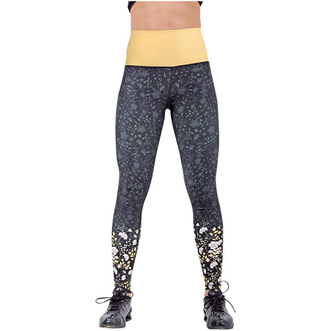 FLEXMEE 946077 Luxury Golden Sublimated Mid Rise Leggings | Microfiber - Pal Negocio