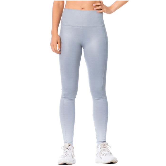 FLEXMEE 946137 High-Rise Shimmer Silver Sports Leggings for Women
