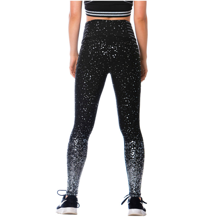 FLEXMEE 946166 High-Waisted Shimmer Print Black Gym Leggings