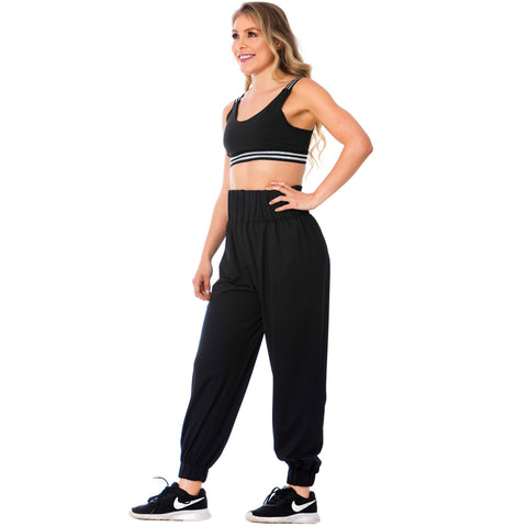 FLEXMEE 952054 High-Waisted Black Joggers for Women