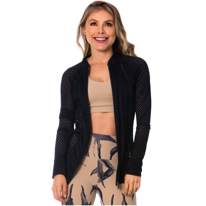 FLEXMEE 980010 See-Through Black Sports Jacket for Women