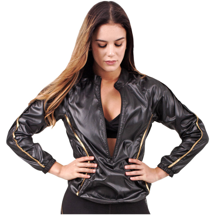 FLEXMEE 982001 Luxury Golden Windbreaker For Women | Polyester - Pal Negocio