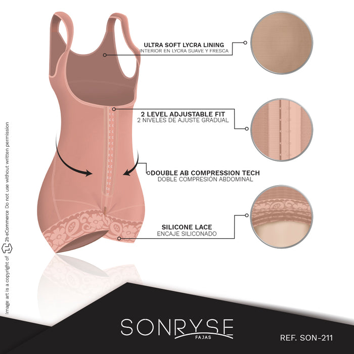 Fajas SONRYSE 211BF | Butt Lifter Colombian Bodysuit Shapewear | Postpartum and Everyday Use - Pal Negocio