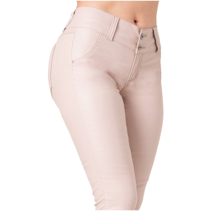 LOWLA 0719 | Faux Leather Mid Rise Jeans for Women - Pal Negocio