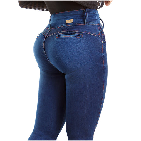 Laty Rose AS3002 Wide Waistband 3-Button Denim Jeans - Pal Negocio