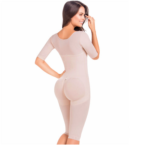 Fajas MariaE 9142 | Long Sleeve Postoperative Shapewear With Over Bust Strap | After Pregnancy Compression Garment - Pal Negocio