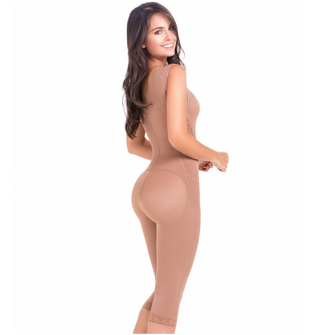 Fajas MariaE 9262 | Colombian Postpartum Full Body Body Shaper for Women | Knee Length & Bra - Pal Negocio