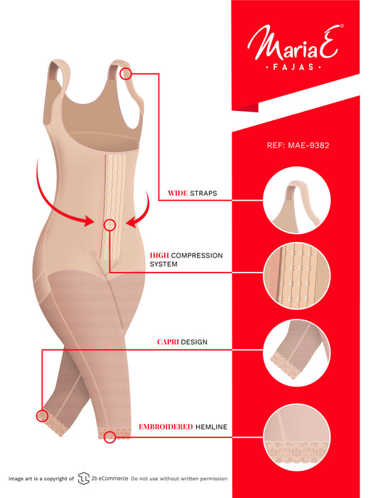 Fajas MariaE 9382 | Post Surgery Body Shaper | Postpartum Butt Lifting Girdle | Open Bust & Knee Length - Pal Negocio