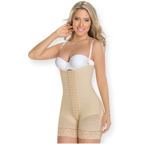Fajas MYD 0086 Women's Strapless Mid Thigh Body Shaper / Powernet - Pal Negocio