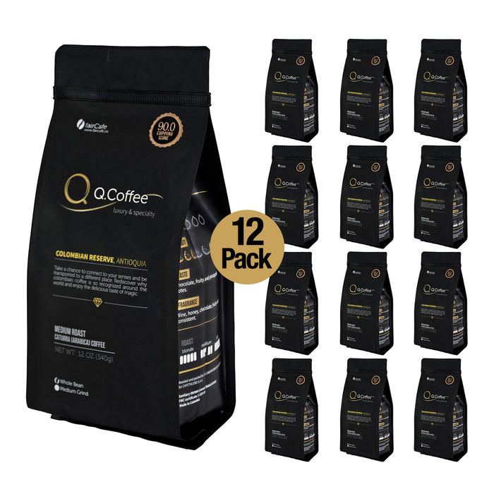 Q.COFFEE 12 Oz Specialty Scaa Colombian Medium Roast Ground Arabica Best Luxury Coffee Cafe Colombiano 12 PACK - Pal Negocio