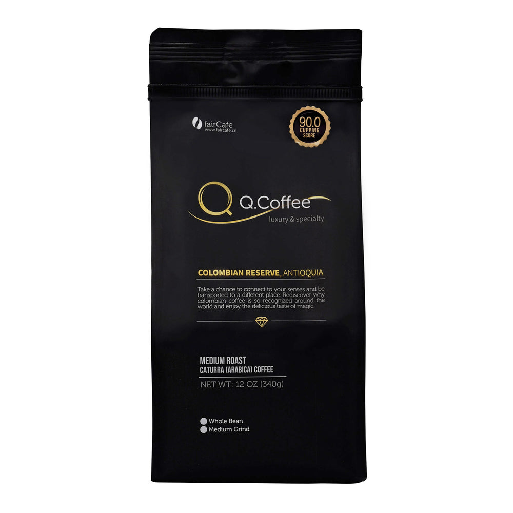 Q.COFFEE 12 Oz Specialty Scaa Colombian Medium Roast Ground Arabica Best Luxury Coffee Cafe Colombiano - Pal Negocio