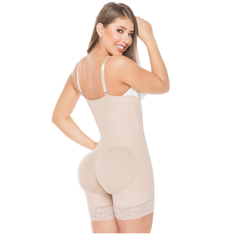 Fajas Salome 0215 Strapless Mid Thigh Body Shaper for Women / Powernet - Pal Negocio