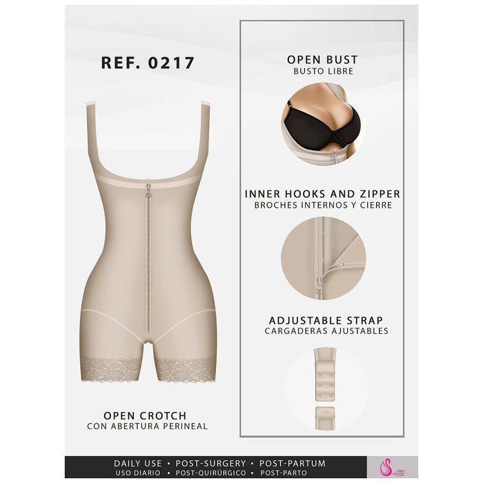 Fajas Salome 0217 | Mid Thigh Firm Compression Full Body Shaper for Women | Butt Lifter Open Bust Postpartum Bodysuit | Powernet - Pal Negocio