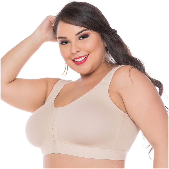 Fajas Salome 0312 | Front Closure Breast Augmentation Post Surgery Bra for Women | Powernet - Pal Negocio