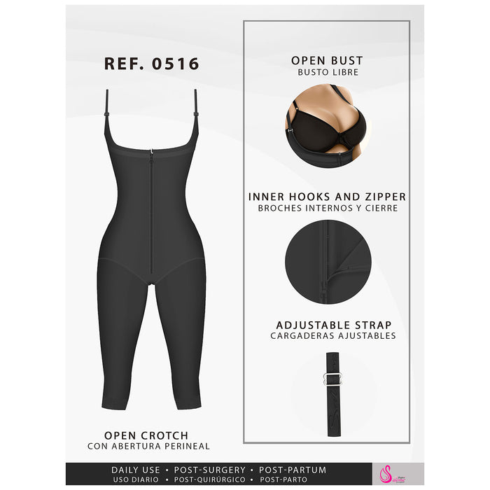 Fajas Salome 0516 | Post Surgery Postpartum Butt Lifter Full Bodysuit | Open Bust Knee Length Body Shaper for Women | Powernet - Pal Negocio