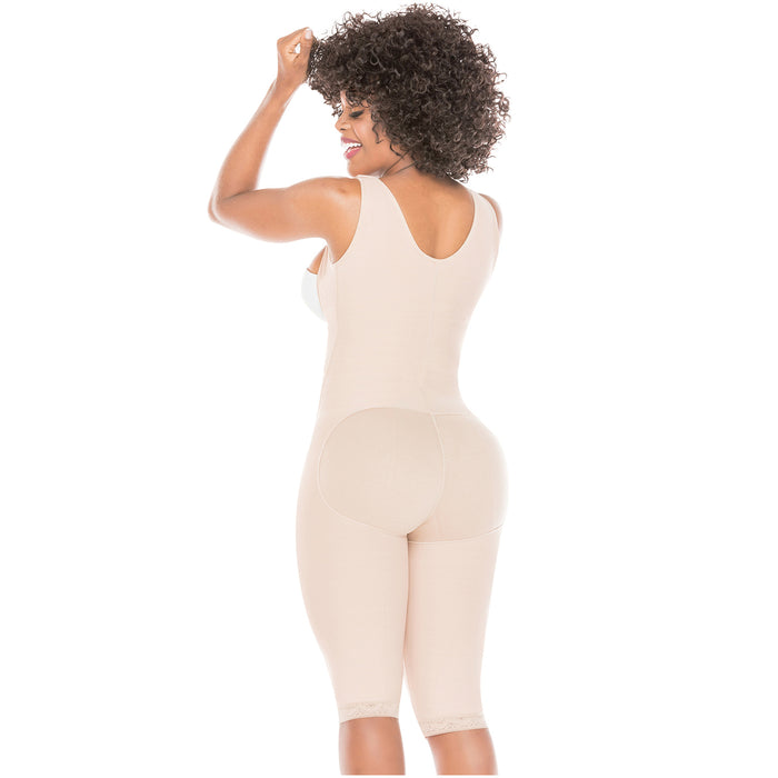 Fajas Salome 0517 | Post Surgery Stage 1 Butt Lifter Full Bodysuit | Open Bust Knee Length Body Shaper for Women | Powernet - Pal Negocio