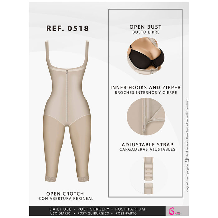 Fajas Salome 0518 | Stage 1 Post Surgery Bodysuit | Knee Length Full Body Shaper for Women | Powernet - Pal Negocio
