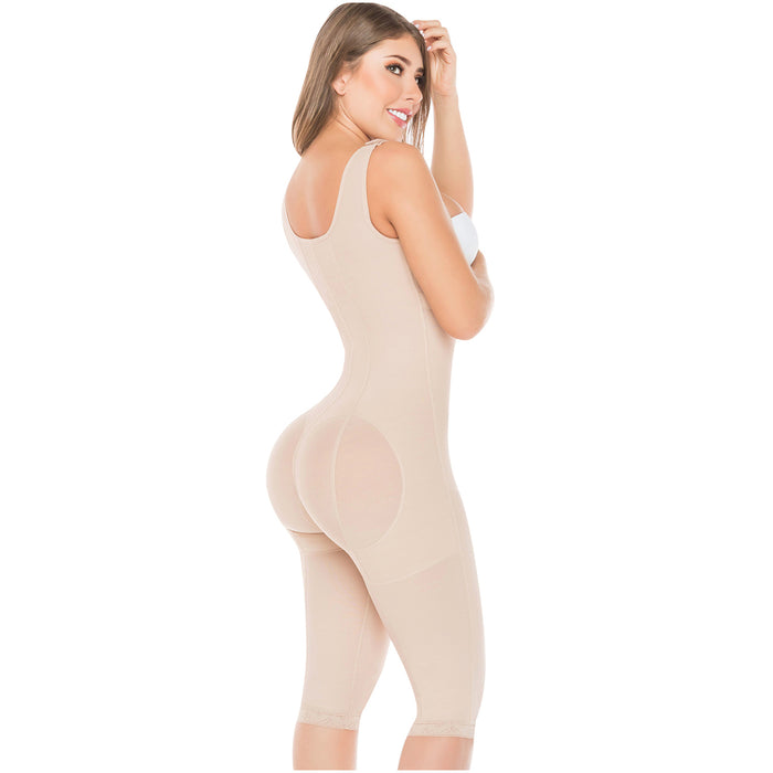 Fajas Salome 0520 | Open Bust Post Surgery Full Body Shaper for Women | Butt Lifter Knee Length Bodysuit | Powernet - Pal Negocio